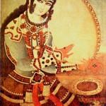 Persische Musikerin mit dem Daf-Miniaturen